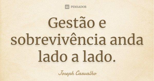 Gestão e sobrevivência anda lado a lado.... Frase de Joseph Carvalho.
