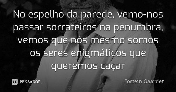 No espelho da parede, vemo-nos passar sorrateiros na penumbra, vemos que nós mesmo somos os seres enigmáticos que queremos caçar... Frase de Jostein Gaarder.