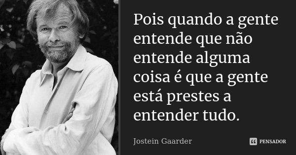 Pois quando a gente entende que não entende alguma coisa é que a gente está prestes a entender tudo.... Frase de Jostein Gaarder.
