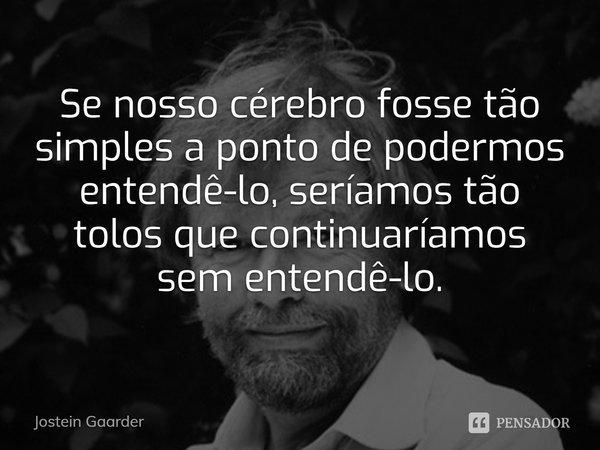 Se nosso cérebro fosse tão simples a ponto de entendê-lo, seríamos tão tolos que continuaríamos sem entendê-lo.... Frase de Jostein Gaarder.