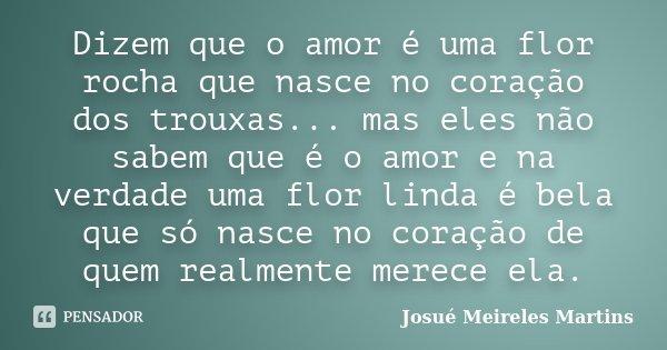 Dizem que o amor é uma flor rocha que nasce no coração dos trouxas... mas eles não sabem que é o amor e na verdade uma flor linda é bela que só nasce no coração... Frase de Josué Meireles Martins.