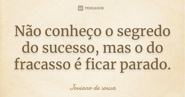 Não conheço o segredo do sucesso, mas o do fracasso é ficar parado.... Frase de Joviano de Sousa.