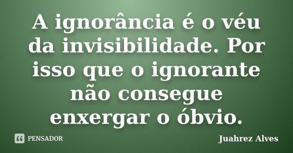A ignorância é o véu da invisibilidade. Por isso que o ignorante não consegue enxergar o óbvio.... Frase de Juahrez Alves.