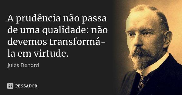 A prudência não passa de uma qualidade: não devemos transformá-la em virtude.... Frase de Jules Renard.