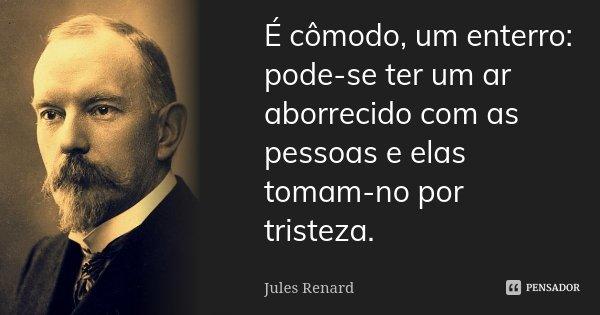É cómodo, um enterro: pode-se ter um ar aborrecido com as pessoas e elas tomam-no por tristeza.... Frase de Jules Renard.