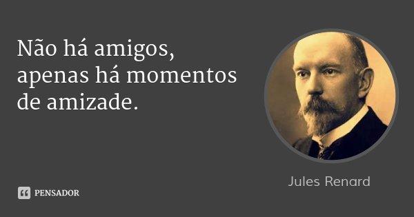 Não há amigos, apenas há momentos de amizade.... Frase de Jules Renard.