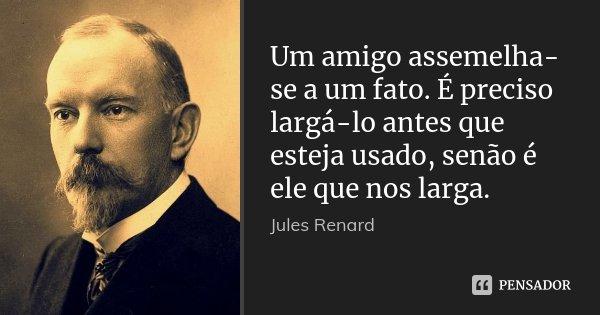 Um amigo assemelha-se a um fato. É preciso largá-lo antes que esteja usado, senão é ele que nos larga.... Frase de Jules Renard.