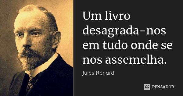 Um livro desagrada-nos em tudo onde se nos assemelha.... Frase de Jules Renard.