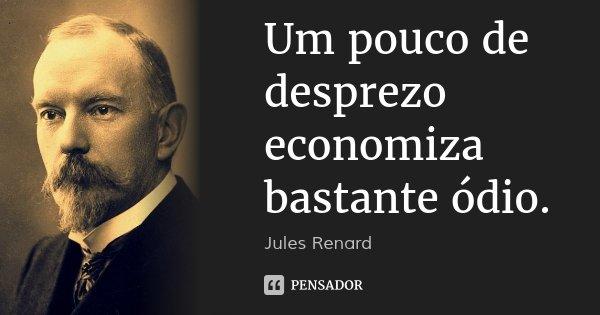 Um pouco de desprezo economiza bastante ódio.... Frase de Jules Renard.