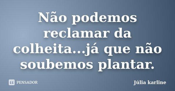 Não podemos reclamar da colheita...já que não soubemos plantar.... Frase de Júlia karline.