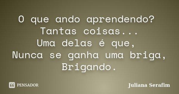 O que ando aprendendo? Tantas coisas... Uma delas é que, Nunca se ganha uma briga, Brigando.... Frase de Juliana Serafim.