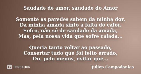 Saudade de amor, saudade do Amor Somente as paredes sabem da minha dor, Da minha amada sinto a falta do calor. Sofro, não só de saudade da amada, Mas, pela noss... Frase de Julien Campodonico.