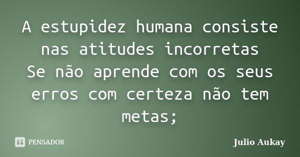A estupidez humana consiste nas atitudes incorretas Se não aprende com os seus erros com certeza não tem metas;... Frase de Julio Aukay.
