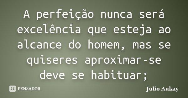 A perfeição nunca será excelência que esteja ao alcance do homem, mas se quiseres aproximar-se deve se habituar;... Frase de julio Aukay.