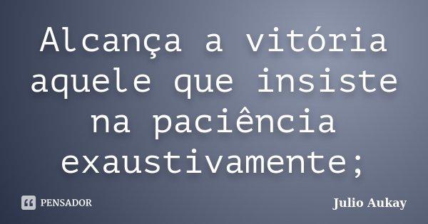 Alcança a vitória aquele que insiste na paciência exaustivamente;... Frase de Julio Aukay.
