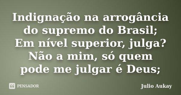 Indignação na arrogância do supremo do Brasil; Em nível superior, julga? Não a mim, só quem pode me julgar é Deus;... Frase de julio Aukay.