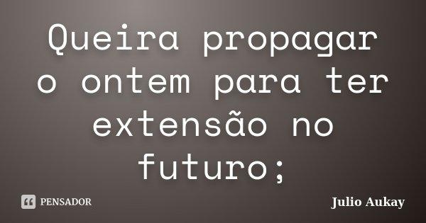 Queira propagar o ontem para ter extensão no futuro;... Frase de Julio Aukay.