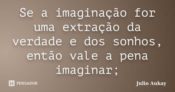 Se a imaginação for uma extração da verdade e dos sonhos, então vale a pena imaginar;... Frase de Julio Aukay.