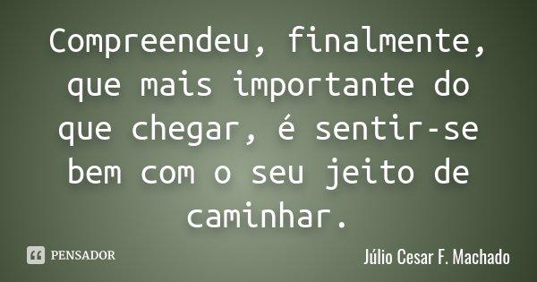 Compreendeu, finalmente, que mais importante do que chegar, é sentir-se bem com o seu jeito de caminhar.... Frase de Júlio Cesar F. Machado.