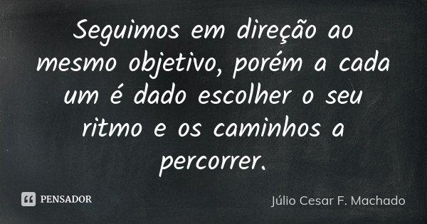 Seguimos em direção ao mesmo objetivo, porém a cada um é dado escolher o seu ritmo e os caminhos a percorrer.... Frase de Júlio Cesar F. Machado.