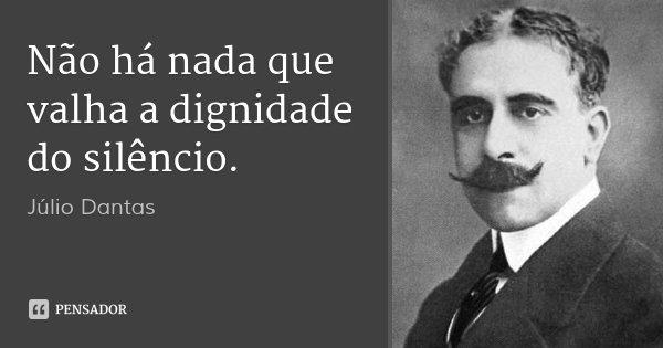 Não há nada que valha a dignidade do silêncio.... Frase de Júlio Dantas.