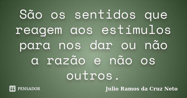 São os sentidos que reagem aos estímulos para nos dar ou não a razão e não os outros.... Frase de Julio Ramos da Cruz Neto.