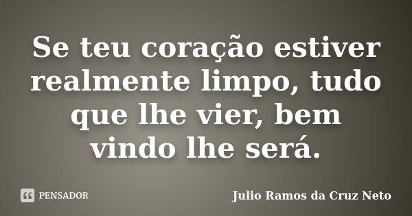 Se teu coração estiver realmente limpo, tudo que lhe vier, bem vindo lhe será.... Frase de Julio Ramos da Cruz Neto.