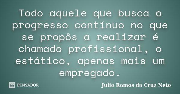 Todo aquele que busca o progresso contínuo no que se propôs a realizar é chamado profissional, o estático, apenas mais um empregado.... Frase de Julio Ramos da Cruz Neto.