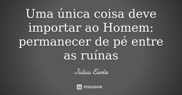 Uma única coisa deve importar ao Homem: permanecer de pé entre as ruínas... Frase de Julius Evola.