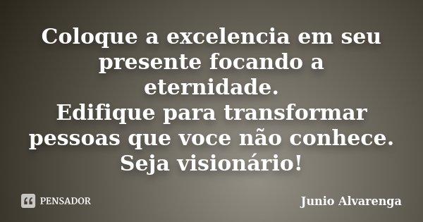 Coloque a excelencia em seu presente focando a eternidade. Edifique para transformar pessoas que voce não conhece. Seja visionário!... Frase de Junio Alvarenga.
