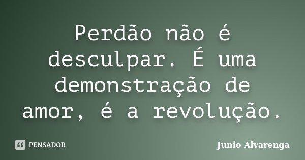 Perdão não é desculpar. É uma demonstração de amor, é a revolução.... Frase de Junio Alvarenga.