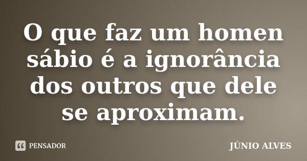O que faz um homen sábio é a ignorância dos outros que dele se aproximam.... Frase de JÚNIO ALVES ®.