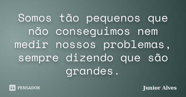 Somos tão pequenos que não conseguimos nem medir nossos problemas, sempre dizendo que são grandes.... Frase de Junior Alves.