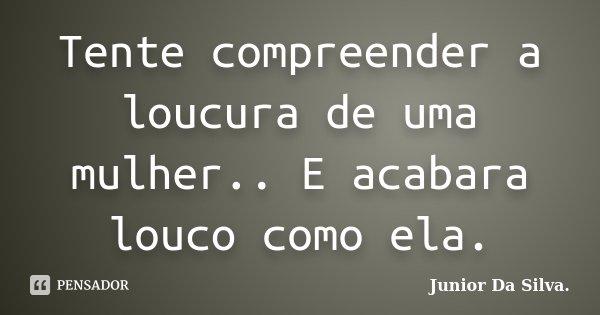 Tente compreender a loucura de uma mulher.. E acabara louco como ela.... Frase de Junior Da Silva..