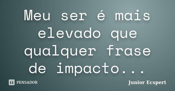 Meu ser é mais elevado que qualquer frase de impacto...... Frase de Junior Ecspert.