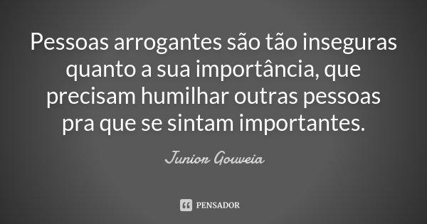 Pessoas arrogantes são tão inseguras quanto a sua importância, que precisam humilhar outras pessoas pra que se sintam importantes.... Frase de Junior Gouveia.