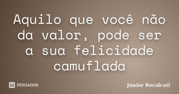 Aquilo que você não da valor, pode ser a sua felicidade camuflada... Frase de Júnior Recalcati.
