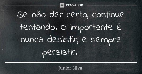 Se não der certo, continue tentando. O importante é nunca desistir, e sempre persistir.🥀🍀... Frase de Júnior Silva.