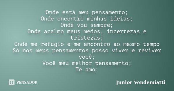 Onde está meu pensamento; Onde encontro minhas ideias; Onde vou sempre; Onde acalmo meus medos, incertezas e tristezas; Onde me refugio e me encontro ao mesmo t... Frase de Junior Vendemiatti.