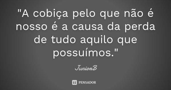 """""""A cobiça pelo que não é nosso é a causa da perda de tudo aquilo que possuímos.""""... Frase de JuniorB."""