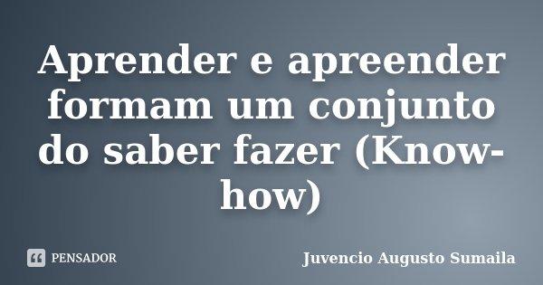 Aprender e apreender formam um conjunto do saber fazer (Know-how)... Frase de Juvencio Augusto Sumaila.