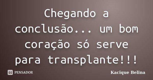 Chegando a conclusão... um bom coração só serve para transplante!!!... Frase de Kacique Belina.