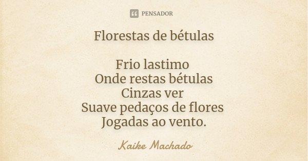 Florestas de bétulas Frio lastimo Onde restas bétulas Cinzas ver Suave pedaços de flores Jogadas ao vento.... Frase de Kaike Machado.