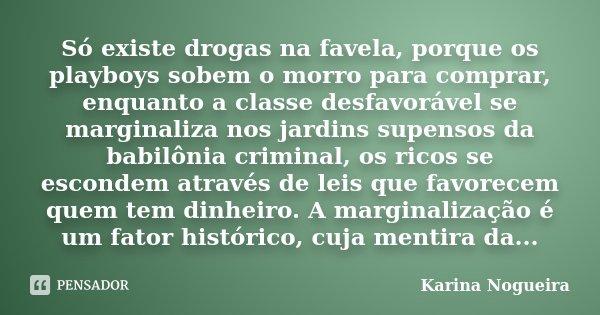 Só existe drogas na favela, porque os playboys sobem o morro para comprar, enquanto a classe desfavorável se marginaliza nos jardins supensos da babilônia crimi... Frase de Karina Nogueira.