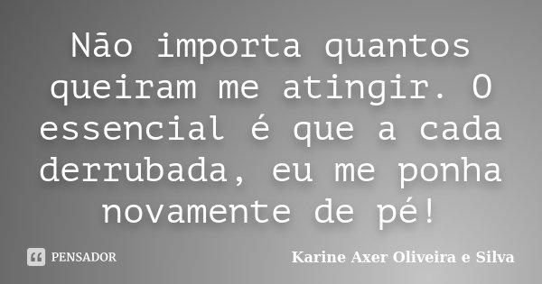 Não importa quantos queiram me atingir. O essencial é que a cada derrubada, eu me ponha novamente de pé!... Frase de Karine Axer Oliveira e Silva.