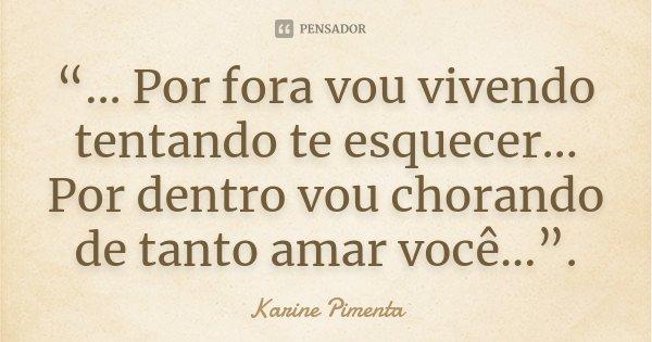 """""""... Por fora vou vivendo tentando te esquecer... Por dentro vou chorando de tanto amar você..."""".... Frase de Karine Pimenta."""