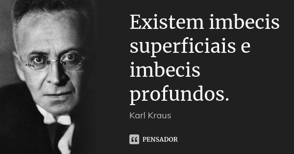 Existem imbecis superficiais e imbecis profundos.... Frase de Karl Kraus.