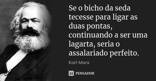 Se o bicho da seda tecesse para ligar as duas pontas, continuando a ser uma lagarta, seria o assalariado perfeito.... Frase de Karl Marx.