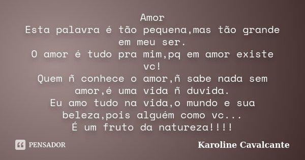 Amor Esta palavra é tão pequena,mas tão grande em meu ser. O amor é tudo pra mim,pq em amor existe vc! Quem ñ conhece o amor,ñ sabe nada sem amor,é uma vida ñ d... Frase de Karoline Cavalcante.