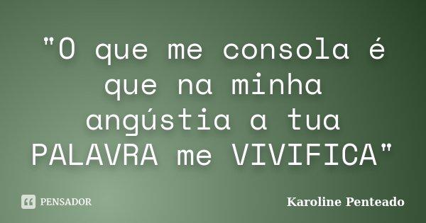"""""""O que me consola é que na minha angústia a tua PALAVRA me VIVIFICA""""... Frase de Karoline Penteado."""